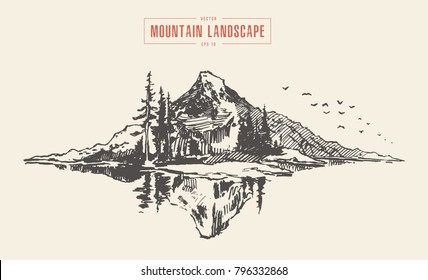 Vector illustration of a mountain peak with pine forest in front of a lake, engraving style, hand drawn