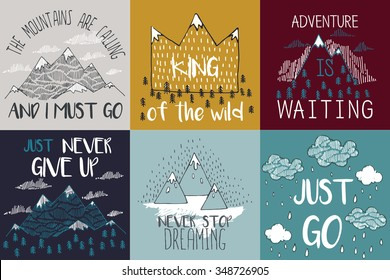 Vector illustration with mountain peaks end graphic elements. The mountains are calling and i must go. Motivational and inspirational typography posters set with quote