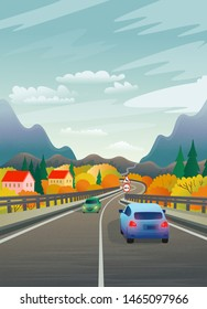 Vector illustration of a mountain road with cars and the village. Flat illustration in cartoon style.