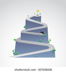 vector illustration of mountain road winding to success