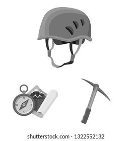 Vector illustration of mountaineering and peak icon. Set of mountaineering and camp stock vector illustration.