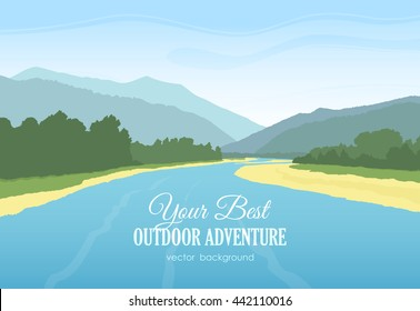 Vector illustration: Mountains landscape with river, forest and sky