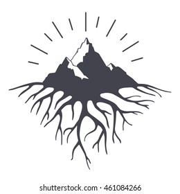 Vector illustration with mountains peaks end roots