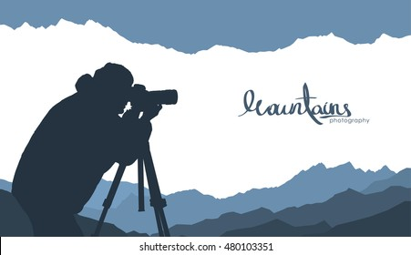 Vector illustration: Mountains template background with silhouette of nature photographer.