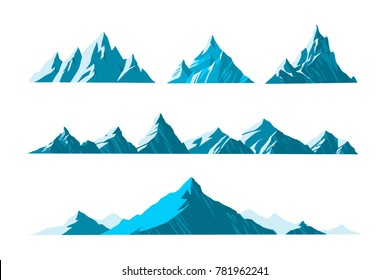 vector illustration Mountains various shapes, hiking mountainous geology.