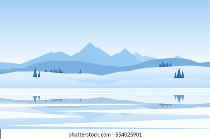 Vector illustration. Mountains winter frozen Lake landscape with pine and reflection.