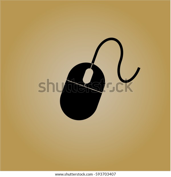 Vector illustration of Mouse vector icon in Black with Yellow