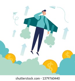 Vector illustration, move up motivation, The way to achieve the goal, jet pack