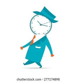 Vector illustration of a Mr. Time walks by.