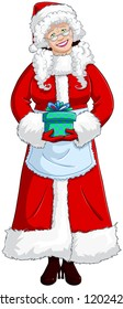A vector illustration of Mrs Claus holding a present for Christmas and smiling.