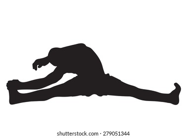 Vector illustration of a muay thai fighter stretching, silhouette