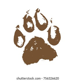 Vector illustration of a muddy dog paw print