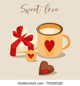 Vector illustration. Mug of  cappuccino and heart-shaped chocolates, cookie and heart-shaped sweet box with ribbon. Valentine's Day card. Retro style color poster.