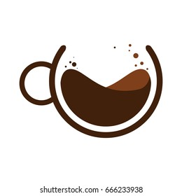 Vector illustration. Mug of coffee. Logo of the Coffee house.