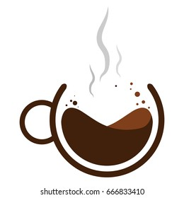 Vector illustration. Mug of hot coffee with steam. Logo.