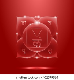 Vector illustration muladhara. Chakra glossy icon . The concept of red root chakra for design at India stile.