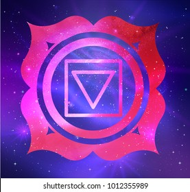 Vector illustration of Muladhara chakra on outer space ultraviolet background.
