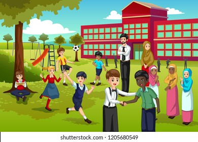 A vector illustration of Multi Ethnic and Diverse Students Playing in School