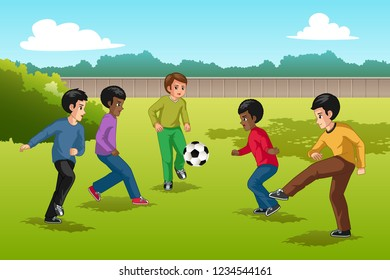 A vector illustration of Multi Ethnic Group of Kids Playing Soccer