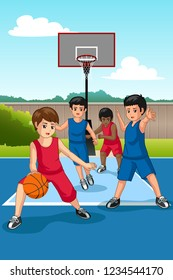 A vector illustration of Multi Ethnic Group of Kids Playing Basketball