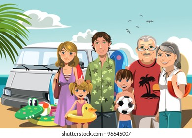 A vector illustration of a multi generation family on a beach vacation