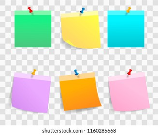 Vector illustration of multicolor notes isolated on transparent background.