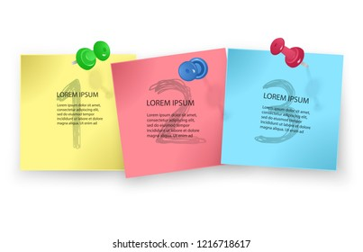 Vector illustration of multicolor post notes isolated on white background, to do list with important things vector illustration
