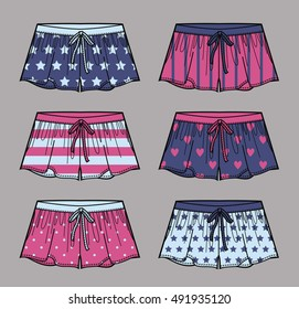 Vector illustration of multicolor shorts. Cute silk shorts. Front views.