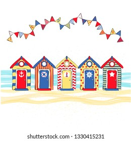 vector illustration multicolored beach huts on the seashore, beach summer print on clothes