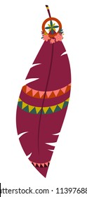 Vector illustration of multicolored boho feather isolated on white background