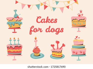 Vector illustration of multi-colored dog pies, holiday garlands for a party. Сakes for your dog's birthday party. Pet's goodies, bones, bakery products for puppies. Isolated on beige background
