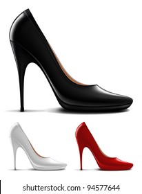 Vector illustration of multicolored high heel shoes