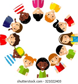 Vector illustration of multicultural children. Set of international boys and girls icons