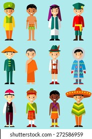 Vector illustration of multicultural national children, people in  traditional costumes Set of international man, boys dressed in national clothes