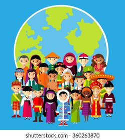 Vector illustration of multicultural national children, people on planet earth Set of international people in traditional costumes around the world