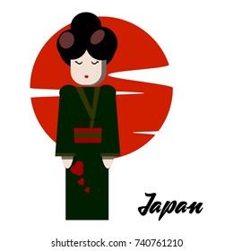 Vector illustration of multicultural national people, people on planet earth. Japanese. People of different nationalities. Vector flat stile.