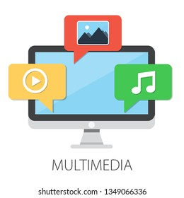 """Vector illustration of multimedia files and social media with """"multimedia"""" communication concept"""