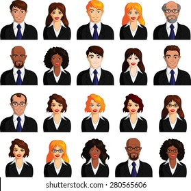 Vector illustration of multiracial business avatar variations.