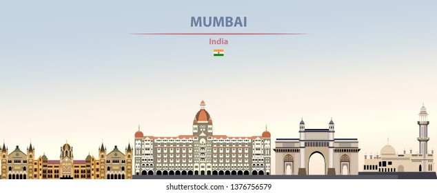 Vector illustration of Mumbai city skyline on colorful gradient beautiful daytime background