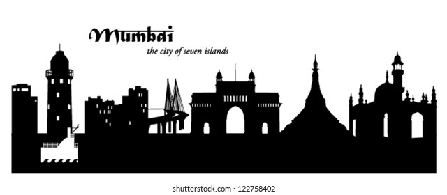Vector illustration of the Mumbai, India, cityscape / skyline in black and white silhouette with the pagoda and lighthouse
