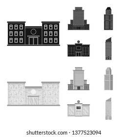 Vector illustration of municipal and center icon. Collection of municipal and estate   vector icon for stock.