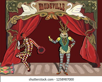 The vector illustration of murder of the Vaudeville on the stage of theatre