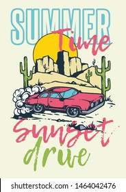 Vector illustration of muscle car on the desert road with summer mountain sunset background in 80s style retro graphic.