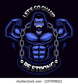 Vector illustration of a muscled gorilla with chain. Sport mascot on the dark background. Text is on the separate group.
