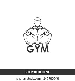 Vector illustration of muscled man body silhouette. fitness or bodybuilding gym logo concept