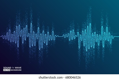 Vector illustration of music abstract sound background. Equalizer for music, showing sound waves with music waves, music background equalizer vector concept. Colorful design element for cover, poster.