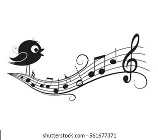 Vector illustration of a music background with bird, musical notes