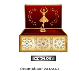Vector illustration - Music box with red velvet upholstery classic gold with jewels And Golden figurine of a ballerina, a souvenir for interior decoration.