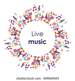 vector illustration / music notes in circle / live music concept / music album cover / karaoke bar poster