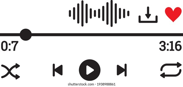 Vector illustration of the music player buttons